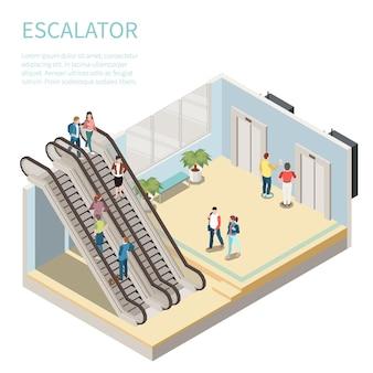 Isometrische zusammensetzung mit leuten, die rolltreppe benutzen und auf aufzug 3d-darstellung warten