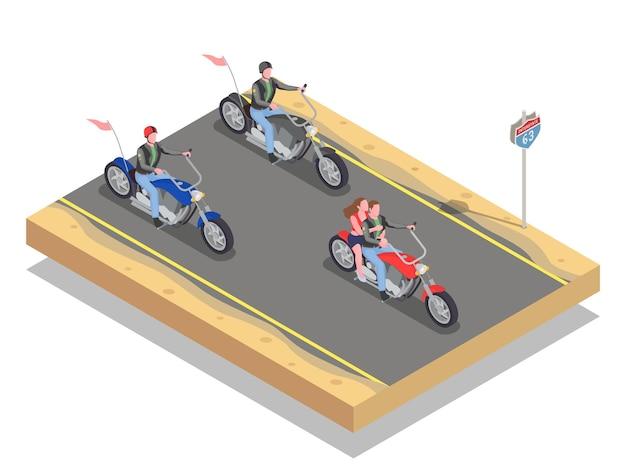 Isometrische zusammensetzung mit männlichen und weiblichen bikern, die bunte motorräder fahren