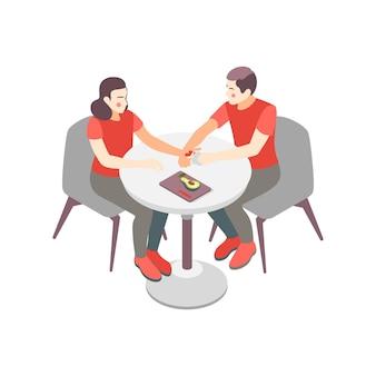 Isometrische zusammensetzung mit menschlichen zeichen, die am tisch mit avocado-illustration sitzen
