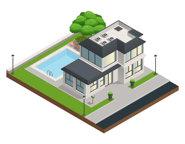 Isometrische zusammensetzung mit modernem vorstadthaus mit zwei geschossen und sauberem garten