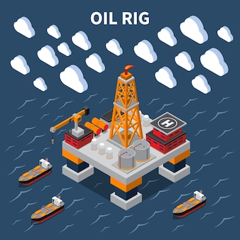 Isometrische zusammensetzung mit ölbohrinsel und tanker 3d illustration
