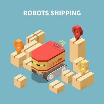 Isometrische zusammensetzung mit roboter, der waren in pappkartons liefert