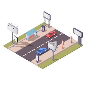 Isometrische zusammensetzung mit verschiedenen werbekonstruktionen entlang der straßen-3d-illustration