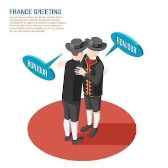 Isometrische zusammensetzung mit zwei französischen leuten in den nationalen kostümen, die einander 3d illustration begrüßen