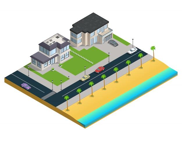 Isometrische zusammensetzung mit zwei vorstadthäusern in der nähe von sandstrand