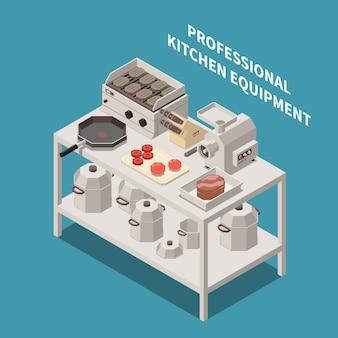 Isometrische zusammensetzung professioneller küchengeräte mit industriellen fleischwolf-kochmessern, elektrischen grillpfannen