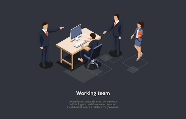 Isometrische zusammensetzung, vektordesign. 3d-karikatur-art-illustration mit dem schreiben auf arbeitsteam-konzept. geschäftsleute charaktere. eine person sitzt am schreibtisch, andere steht. inneneinrichtung des bürounternehmens