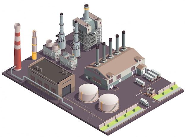 Isometrische zusammensetzung von industriegebäuden mit werkslandschaftsfabrik bietet riesige stoffgebäude und transporteinheiten