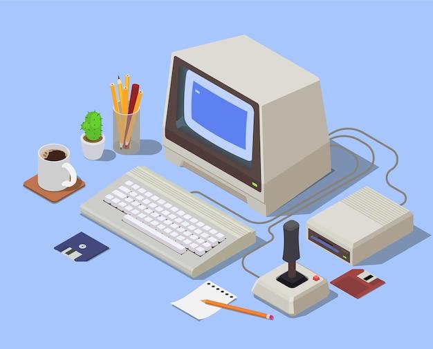 Isometrische zusammensetzung von retro-geräten mit pc, bestehend aus monitortastatur der systemeinheit und angeschlossenem joystick