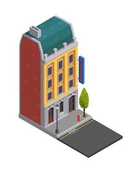 Isometrische zusammensetzung von vorstadtgebäuden