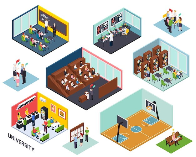 Isometrische zusammensetzungen des hochschulstudienkonzeptes 10 stellten mit lokalisierter illustration des klassenzimmervortragsbibliotheksprojektsports im freien ein
