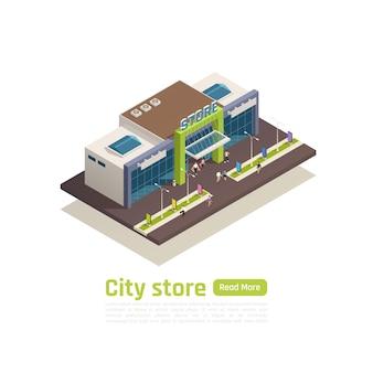 Isometrische zusammensetzungsfahne des einkaufszentrums des einkaufszentrums mit überschrift des stadtladens und grüner lesen sie mehr knopfvektorillustration