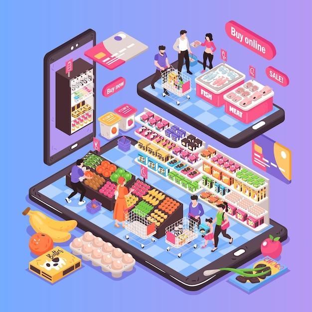 Isometrische zusammensetzungsillustration des online-supermarkts