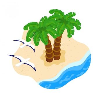 Isometrische zwei palmen und möwen am toropischen sandstrand. sommerferien, ruhe im paradies an der sandküste am meer oder meer. illustration