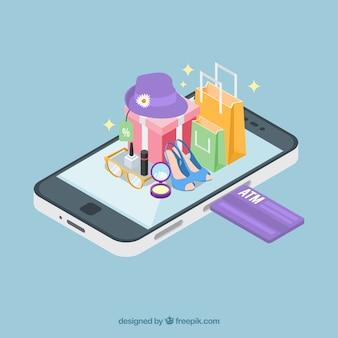 Isometrischen ansicht einer mobilen anwendung