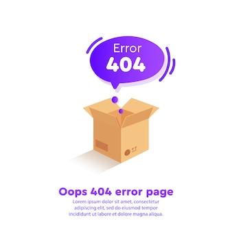 Isometrischer 404-fehler mit einem leeren feld auf der site-seite
