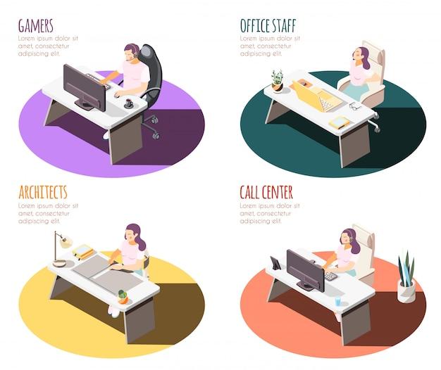 Isometrischer 4x1-satz von kompositionen mit sitzendem lebensstil mit arbeitsplätzen, tabellen und personen mit text