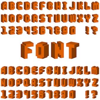 Isometrischer alphabettypographietext und perspektivenbuchstabekunst des isometrischen alphabetes. retro- schriftbild 3d der lateinischen zahl des isometrischen alphabetes
