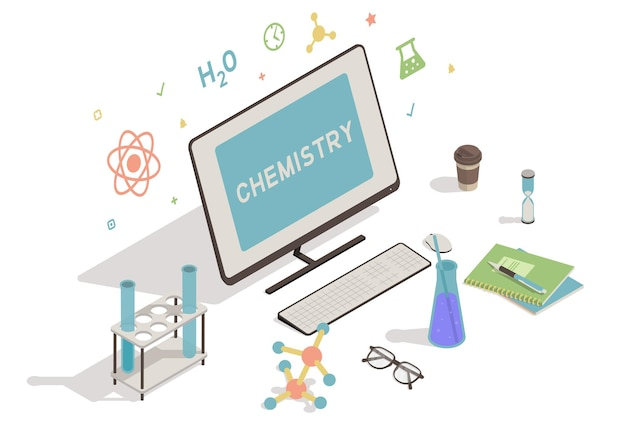 Isometrischer arbeitsbereich mit computerbildungskonzept