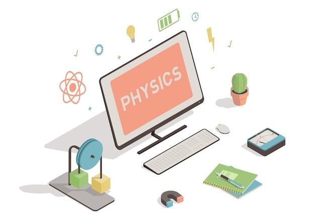 Isometrischer arbeitsbereich mit computerillustration