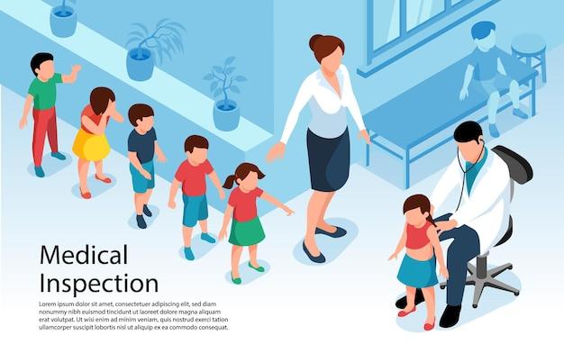 Isometrischer arzt kinderarzt mit warteschlange der kinderillustration