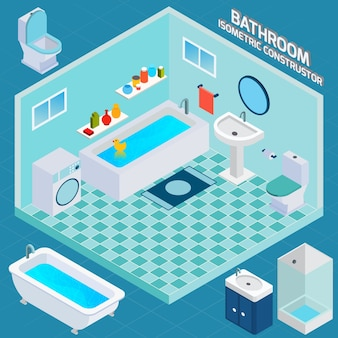 Isometrischer badezimmer-innenraum
