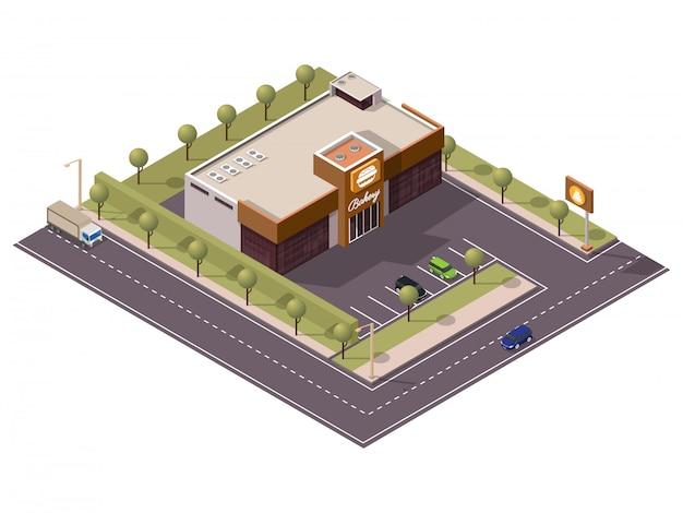 Isometrischer bäckerei-burger-shop mit kuchen-schild und parkplatz entlang transport-straße