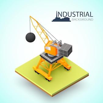 Isometrischer bagger 3d und kran mit abrissbirne für abrissgebäudezusammensetzung