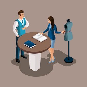 Isometrischer bankdirektor schlägt vor, die dienste der bank in anspruch zu nehmen, das schneidermädchen erwägt das angebot. unternehmer, eigenes geschäft, arbeiten sie für sich