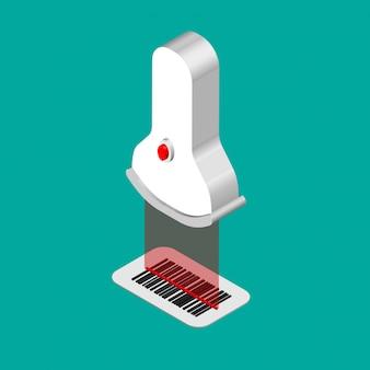 Isometrischer barcode-aufkleber lokalisiert auf farbe. 3d-scanner scannt barcode. illustration.
