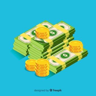 Isometrischer bargeldhintergrund