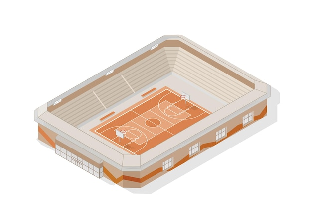 Isometrischer basketballplatz