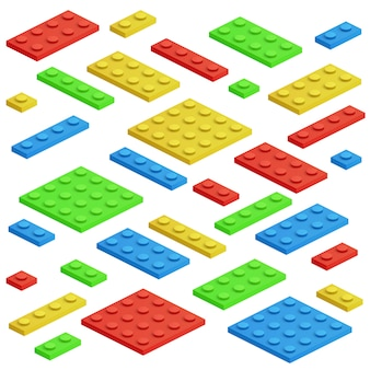 Isometrischer baustein, spielzeugkinderziegelstein-vektorsatz