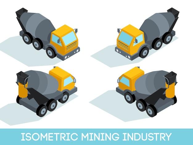 Isometrischer bergbau 3d, bergwerksausrüstung und fahrzeuge lokalisierten vektorillustration