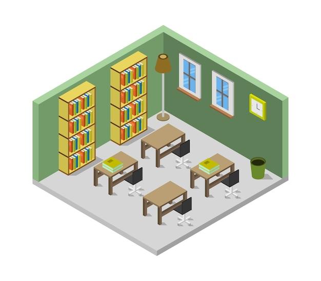 Isometrischer bibliotheksraum