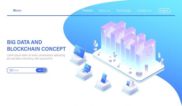 Isometrischer big data-hosting-server oder rechenzentrumsraum