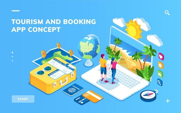 Isometrischer bildschirm für online-hotelreservierung oder flugbuchung, reise- oder urlaubsplanungs-smartphone-anwendung. mann und frau kaufen reise. tourismus und reise, erholung, reise-app-konzept