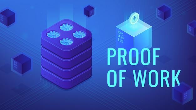 Isometrischer blockchain-beweis der arbeitsillustration.
