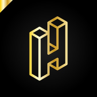 Isometrischer buchstabe h-logo