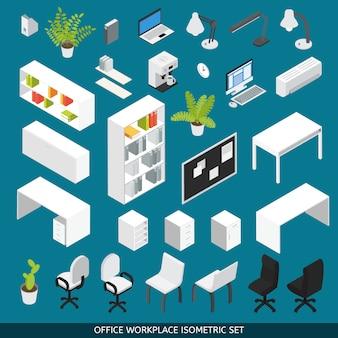 Isometrischer büroarbeitsplatz für szenenersteller eingestellt. mit attributen und büromöbeln für die organisation des arbeitsplatzes