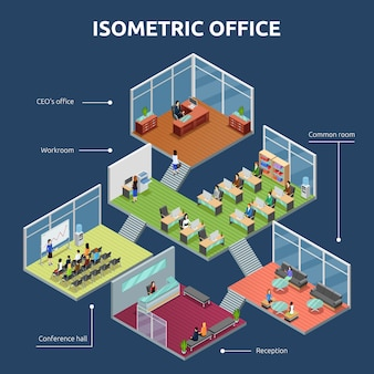 Isometrischer bürogebäudeplan
