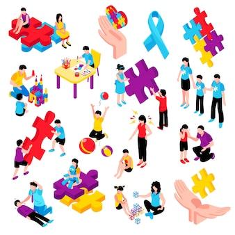 Isometrischer bunter satz des autismus mit verhaltensschwierigkeiten-krisen-kommunikationsproblemhyperaktivität und epilepsie lokalisierte illustration