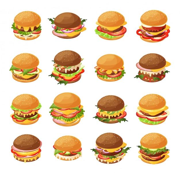 Isometrischer burger-illustrationssatz, frische verschiedene hamburger des 3d-karikatur für fast-food-cafémenüikonsatz lokalisiert auf weiß