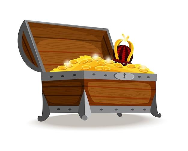 Isometrischer cartoon der schatzkiste. offene holzkiste voller goldmünzen, juwelen und königskrone. wertvolle schätze, kristalle, edelsteine und goldene münzen in der piratenkiste. abbildung für die benutzeroberfläche des spiels.