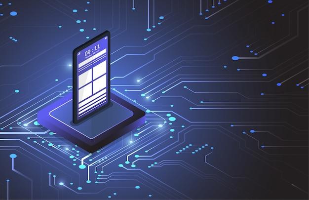 Isometrischer chipsatz eines smartphones auf leiterplatte in futuristischer konzepttechnologie