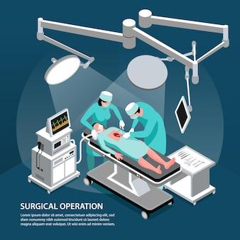 Isometrischer chirurg arzt hintergrund mit textzusammensetzung und personen, die chirurgische operationen mit moderner ausrüstung durchführen performing