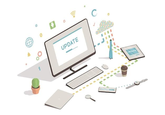 Isometrischer computer, smartphone, tablet mit update-bildschirm