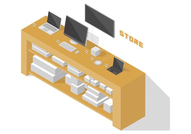 Isometrischer computerladen Premium Vektoren