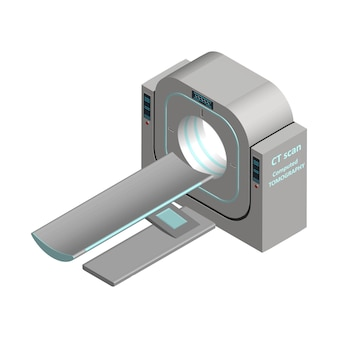 Isometrischer computertomograph isoliert auf weißem mrt-ct-scan magnetresonanztomographie
