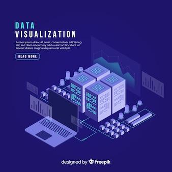 Isometrischer datenvisualisierungskonzepthintergrund